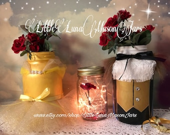Beauty and the Beast mason jar set, La Belle et la Bête, fairy tale inspired, birthday party centerpiece, room decor