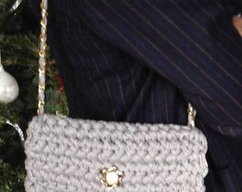 Vintage button crochet bag