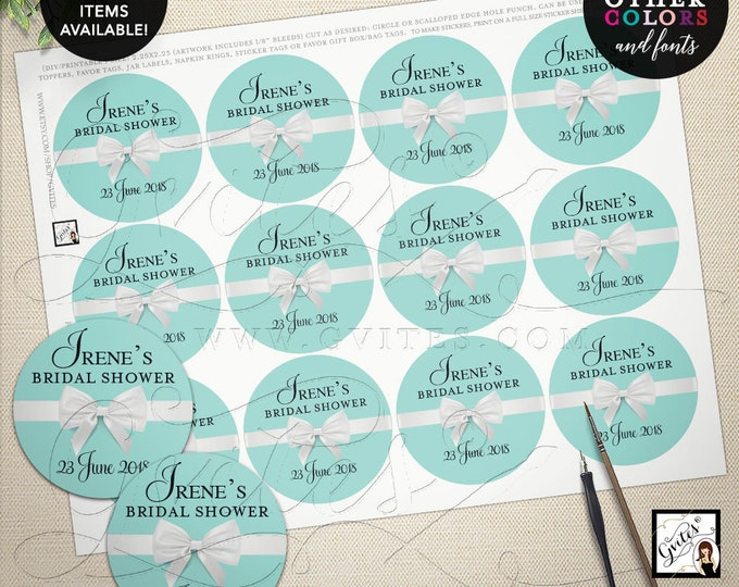 Bridal Shower Labels Round, Popcorn stickers, jar labels, party favors gifts, Blue White, Breakfast at Digital PRINTABLE 2.25x2.25 12/Pe Sh