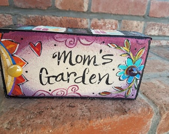 Mother's Day Gift, Painted Brick, Garden Brick