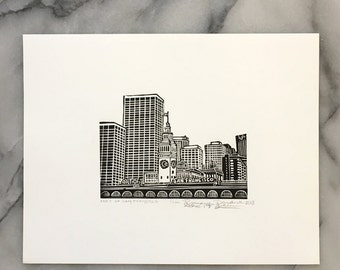 San Francisco Ferry Building, Unframed Letterpress Print