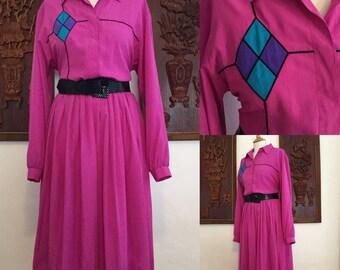 Vintage 80s / Willi of California / Hot Pink / Long Sleeve / Light Weight / Diamond / Secretary Dress / Large