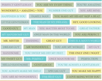 Digital Words Stash Fathers Day Dad Papa Word Strips Digital Scrapbooking Word Art Word Phrases Clipart Speech Blue and Yellow Printable
