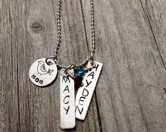 Hand Stamped Personalized Momma Bird Necklace