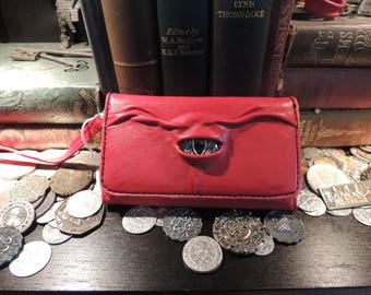 Galaxy S6 Phone case Clutch(Red Leather with Gold Eye)