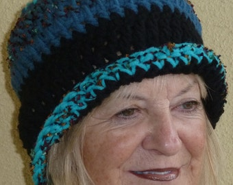 Bold blue and black crochet hat, unique, original and versatile style, choose your style, women's winter hat, gift for her
