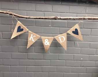 BRIDE & GROOM INITIALS Burlap Banner, Customized and Personalized Wedding Banner in Burlap - Natural Burlap