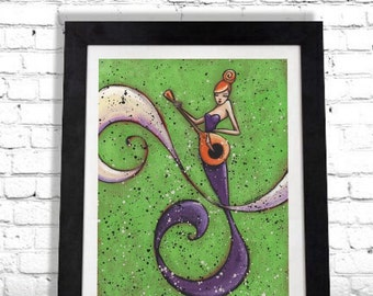 Mermaid Art Print, Music Guitar, Nautical Wall Hanging Home Decor, Gift for Her or Him, Beach House Decoration Redhead, Colorful Woman Shano