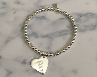 Sterling Silver stretch bracelet with Large Engraved Heart Charm