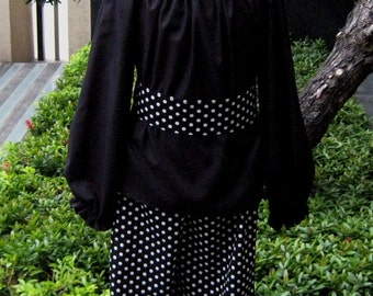 Black And White Peasant Top Set, Black Polka Dots Peasant Top and Ruffle Pant Girl Outfit, Black and White outfit, Infant Fall Outfit