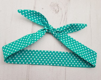 Baby Head Scarf - Teal Green Polka Dot  - Cotton Bib Baby Shower Bandana Bib Boy or Girl