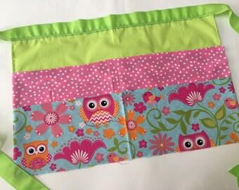 Classroom Apron- owls (green & pink)