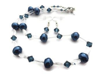 Navy Blue Necklace, Blue Pearl Necklace, Ocean Blue Necklace Set, Dark Blue Beaded Necklace, Blue Crystal Earring, Blue Crystal Necklace