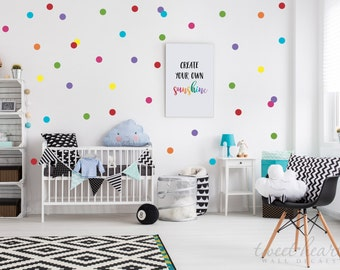 "2"" Rainbow Polka Dots Wall Decals, Peel and Stick Decals, Confetti Decals, Rainbow Color Polka Dot Pack, Includes all 7 colors"