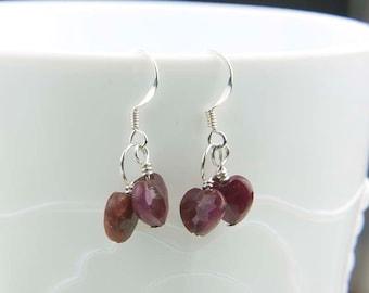 Red Ruby Earrings, Heart Shaped Gemstone Earrings, Genuine Rubies, Heart Gemstones, July Birthstone Earrings, Gift for Her
