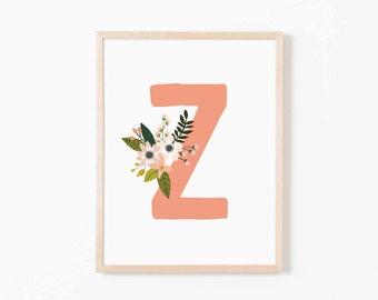 Coral Bloom Z Nursery Art. Nursery Wall Art. Nursery Prints. Nursery Decor. Girl Wall Art. Personalized Wall Art. Monogram Art. Floral Art.