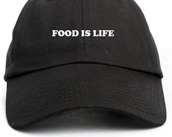Food Is Life Custom Dad Hat Adjustable Baseball Cap Choose Your Color! Free Ship!