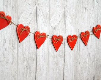 Valentines Garland Valentines Day Banner Valentine Decor Wood Heart garland Wedding Garland Holiday decor Red hearts