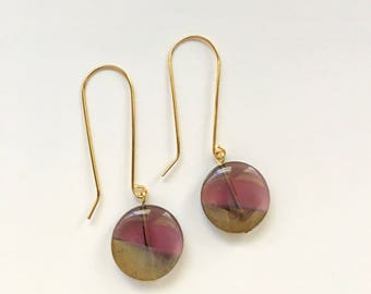 Amethyst and Gold Drop Earrings, Vintage Glass Earrings, Gold Earrings, Statement Earrings