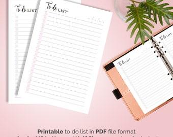 To Do List Printable, Printable To Do List Pink To Do Printable Planner Inserts A5 Filofax Kikki K To Do List Planner Printable A4 US Letter