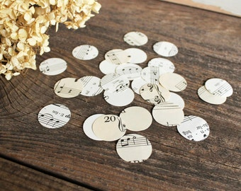confetti party wedding decor - 500 paper circles, sheet music, music note wedding centerpiece
