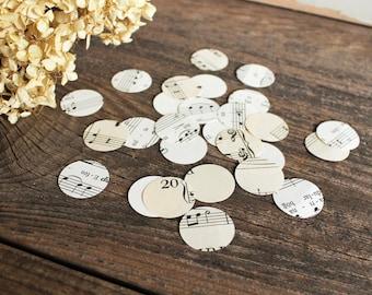 confetti party wedding decor - 500 paper circles, sheet music, music note wedding centerpiece