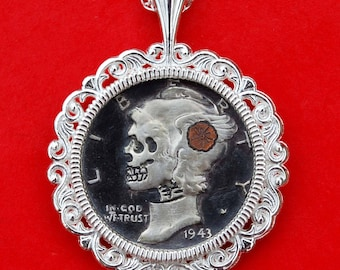 Carved Skull Face Zombie Copper Inlay Flower Hobo Nickel Style US 1943 Mercury Dime 90% Silver Coin Sterling Silver Necklace NEW