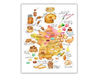 france poster illustrated map watercolor painting map art illustration poster colorful print