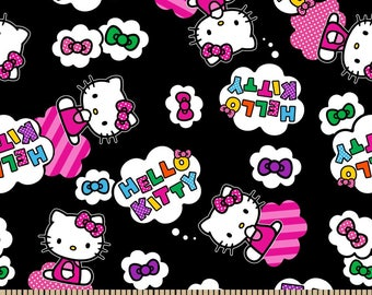 Hello kitty black fabric by half yard, Hello kitty fabric, cartoon printed quilting cotton, quilting fabric, hello kitty sewing fabric