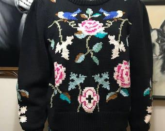 Vintage BEREK New York Hand Knit Bird Floral Black Sweater - Hand Knit by Berek Sweater - Black Rose Sweater