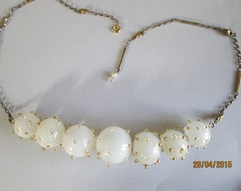 Murano milky Venetian glass bead necklet. Beads are  c.1930s.