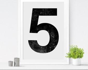 Number Print, Number 5 Print, Nursery Wall Art, Number Wall Art, Number Poster, Modern Decor, Number Art, Custom Number Decor, Table Numbers