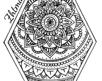 HAND DRAWN Mandala Colouring Pages - downloadable