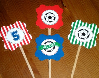All star soccer cupcake toppers - Set of 24