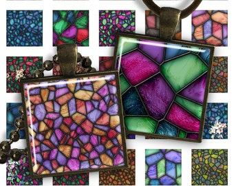 75% OFF SALE Mosaic - Square Pendant Image PS021 digital printable square 1 inch Geometric image 25mm pendants glass charms resin magnets