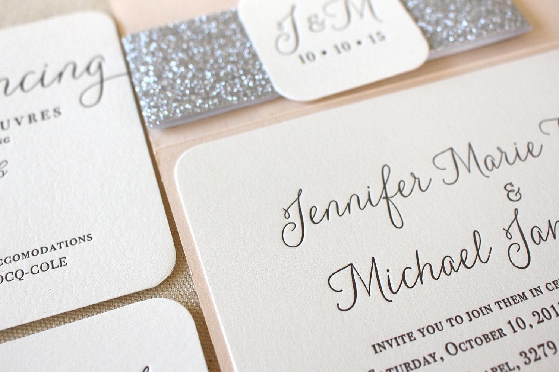 Black blush wedding invitations