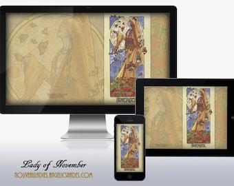 Lady of November Art Nouveau Chrysanthemum Veiled Lady Birthstones Birth Flowers Wallpapers for Desktop, Phone, and Tablet