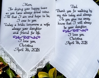 Personalized Gift For Mother of the Bride Father of the Bride or Groom Embroidered Hankie Handkerchief By Canyon Embroidery on ETSY