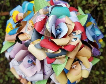 The Little Mermaid Book Bouquet-Decor-Wedding-Bridal Bouquets-Book lover gift-Disney- Paper Flowers- Wedding - mermaid gift- Valentines