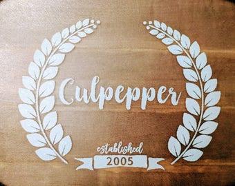 Personalized, glass, cutting board, glossy vinyl, monogram
