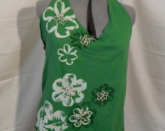 Green Flowered and Beaded Halter Top with Lace-Up Back. Made from 100% upcycled materials