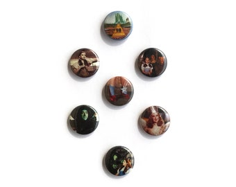 Wizard of Oz 1 inch pinback buttons - badges - Wizard of Oz movie pins - L Frank Baum story