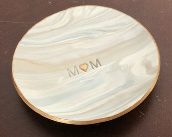Mom Embossed, Marbled Ring Dish, Clay Ring Dish, Ring Holder, Trinket Dish, Jewelry Dish