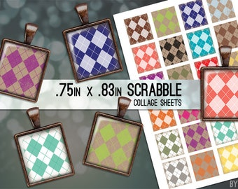 Geometric Digital Collage Sheet Argyle Kraft Scrabble Tile .75x.83 Images on 4x6 and 8.5x11 Download Sheets for Glass Resin Pendants