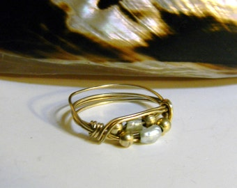 Vintage 12K Gold FIlled Wire Wrapped Seed Pearl Ring - Artisan Gold Filled Natural Seed Pearl Ring Size 6