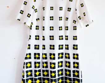 1960s Mod Pop Art Marta D Short Sleeve Dress Bright Yellow