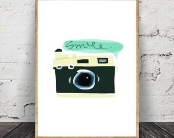 Camera Print, Smile,Nursery,Wall Art,Painting,Home Decor, Pic. No. 139