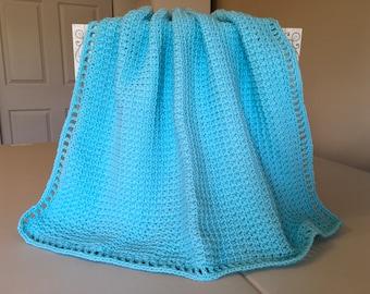 Crocheted Waffle Stitch Baby Afghan -Robins Egg Blue