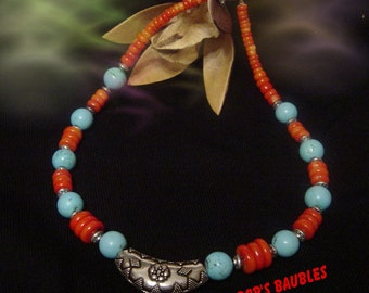 Beautiful Turquoise & Coral Necklace