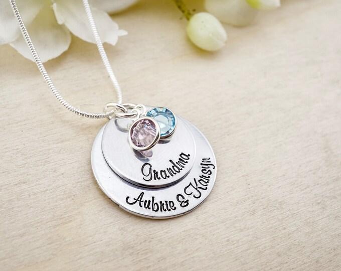 Hand stamped grandma necklace with swarovski crystals! Grandmothers necklace! Grandkids necklace